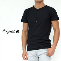 Project E Henry Neck Plain Cotton Short Sleeves Henley T-Shirts