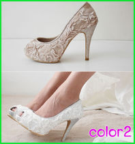 Flower Patterns Open Toe Platform Party Style Lace-Up Shoes