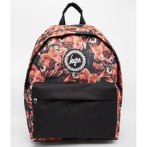 Hype Flower Patterns Canvas Street Style A4 Plain Backpacks