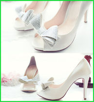 Open Toe Platform Plain Party Style Platform Pumps & Mules