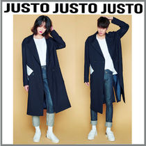 JUSTO Faux Fur Studded Plain Long Parkas