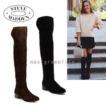 Steve Madden Suede Plain Block Heels Over-the-Knee Boots