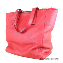 PRADA Rosso Red Vitello Daino Double Zip Tote Bag