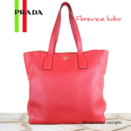 PRADA Totes Rosso Red Vitello Daino Double Zip Tote Bag