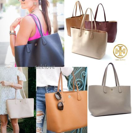 Tory Burch A4 Plain Leather Office Style Totes