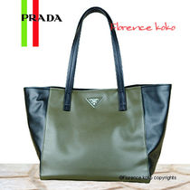 PRADA Militare Green & Black Bi-Color Soft Calf Leather Tote Bag