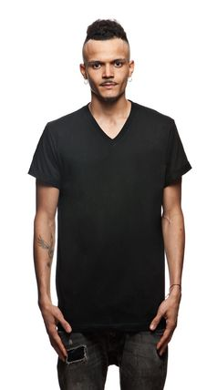 Street Style V-Neck Plain Cotton Short Sleeves