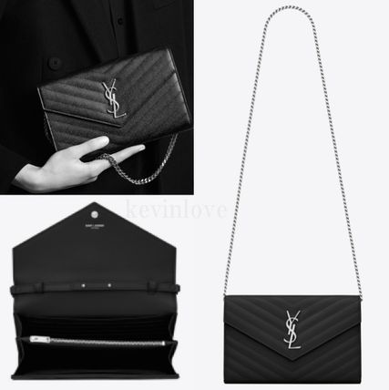 Saint Laurent Calfskin 2WAY Plain Party Style Clutches