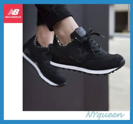 New Balance 574 Plain Toe Rubber Sole Street Style Plain Leather