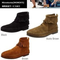 Minnetonka Suede Plain Fringes Ankle & Booties Boots