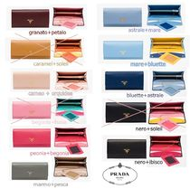 PRADA Saffiano Bi-color Plain Long Wallets