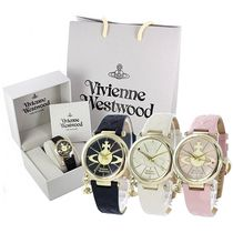 Vivienne Westwood Casual Style Leather Round Party Style Quartz Watches
