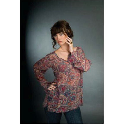 Paisley Silk V-Neck Long Sleeves Medium Tunics