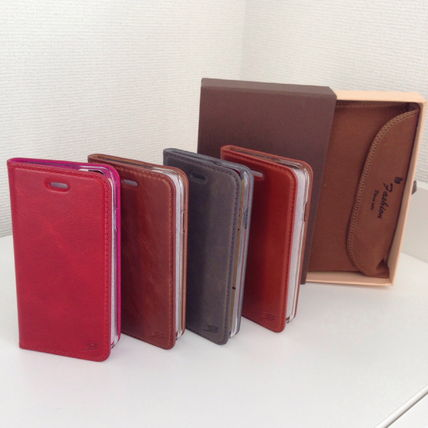 Unisex Plain Leather Smart Phone Cases