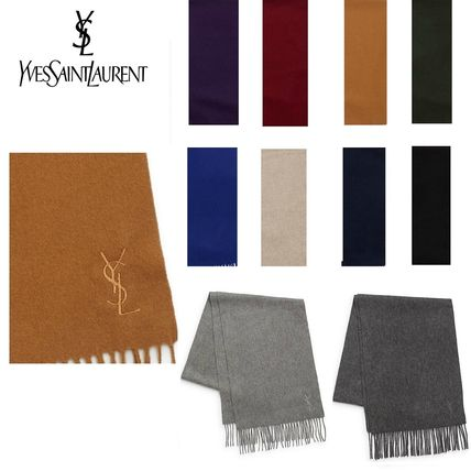 Yves logo cashmere mixed scarf