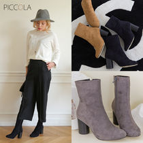 Round Toe Faux Fur Plain Block Heels Ankle & Booties Boots