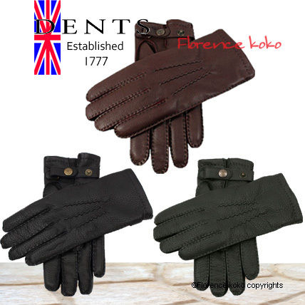 DENTS Cashmere Plain Leather Handmade