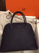 HERMES Bolide Midnight Blue/SHW Taurillon Clemence 31 Bag