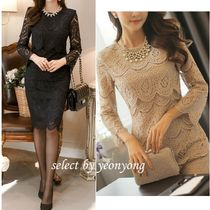 Long Sleeves Plain Medium Party Style Lace Dresses