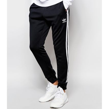 new concept f6e52 749cf adidas SUPERSTAR 2015-16AW Stripes Sweat Street Style Plain Joggers &  Sweatpants