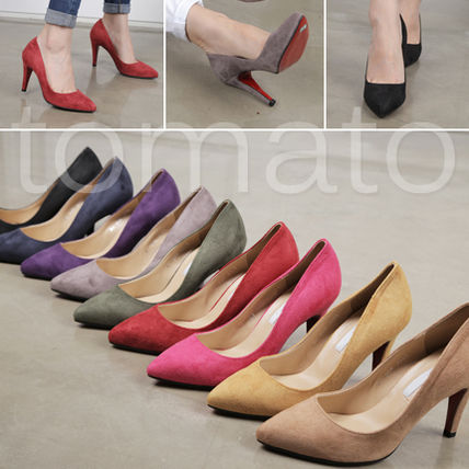 Suede 7-9cm Pin Heels Pointed Toe Pumps & Mules