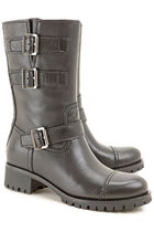 PRADA Round Toe Leather Boots Boots