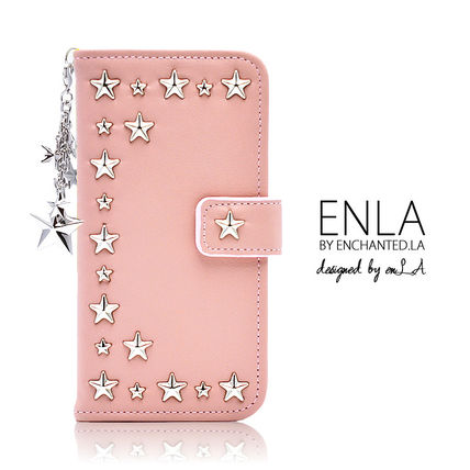 Star Studded Plain Leather Smart Phone Cases