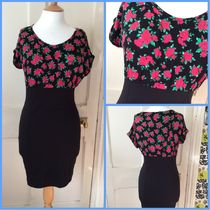 Primark Flower Patterns Tight U-Neck Plain Short Sleeves Dresses