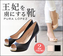 PURA LOPEZ Open Toe Leather Peep Toe Pumps & Mules