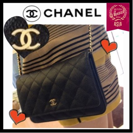 CHANEL CHAIN WALLET Black/GHW Caviar Skin Classic Quilted Wallet On Chain