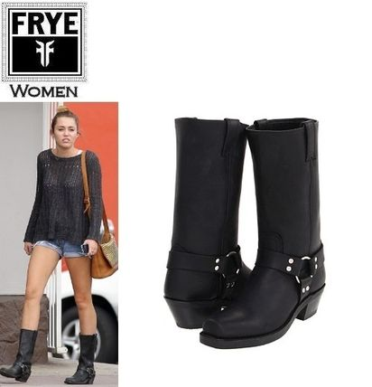 Square Toe Plain Leather Mid Heel Boots