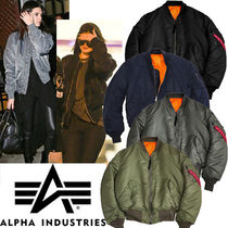 ALPHA INDUSTRIES Short Street Style Plain MA-1 Bomber Jackets