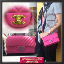 CHANEL Fuchsia Pink/GHW Chevron Lambskin Mini Rectangular Flap Bag