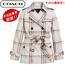 Coach Short Tartan Other Check Patterns Trench Coats