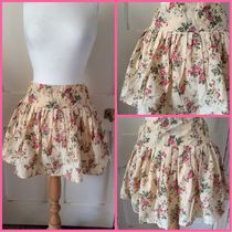 Primark Flared Skirts Short Flower Patterns Cotton Skirts