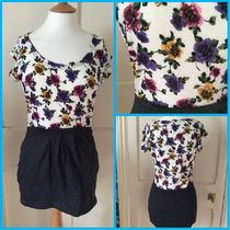 Primark Short Flower Patterns U-Neck Plain Short Sleeves Dresses