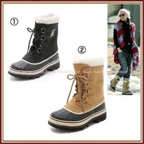 SOREL Round Toe Lace-up Casual Style Blended Fabrics Plain Leather