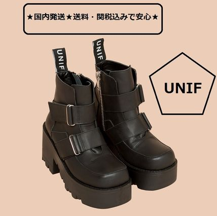 UNIF Clothing Platform Faux Fur Street Style Plain High Heel Boots
