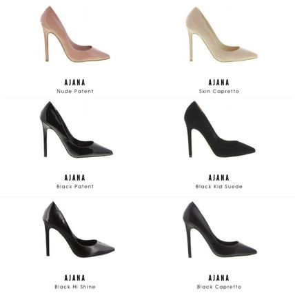 Plain Leather Pin Heels Pointed Toe Pumps & Mules