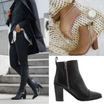 Tony Bianco Plain Leather Block Heels Ankle & Booties Boots