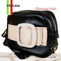 PRADA Black & Cipria White Nappa Lambskin Buckle Shoulder Bag
