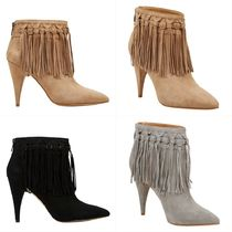 Nine West Suede Plain Pin Heels Fringes Ankle & Booties Boots