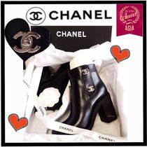CHANEL ICON Plain Leather Block Heels Boots Boots