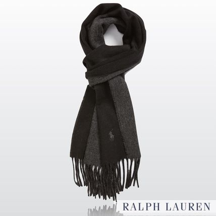 Plain double face wool scarf BLACK & GRAY