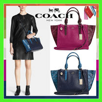 Coach Exotic Colorblock Crosby Carryall Handbag (Cyclamen/Navy)