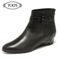 TOD'S Plain Leather Ankle & Booties Boots