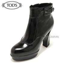 TOD'S Plain Leather Block Heels Ankle & Booties Boots
