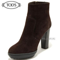 TOD'S Platform Plain Leather Ankle & Booties Boots