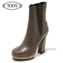 TOD'S Plain Toe Plain Leather Block Heels Ankle & Booties Boots