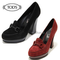 TOD'S Platform Plain Leather Platform Pumps & Mules